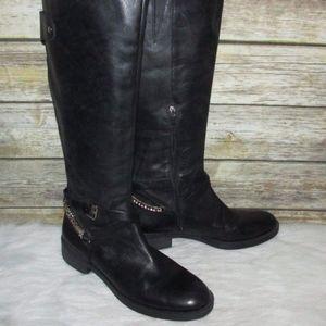 Enzo Angiolini Sandino Black Leather Tall Boots